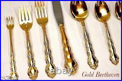 144 pc SET gold golden ONEIDA BEETHOVEN STAINLESS STEEL flatware serv 12