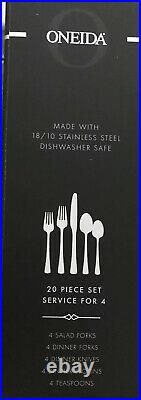 20 Pc NEW Oneida DOVER Heirloom 18/10 Stainless Flatware Set Glossy In Box