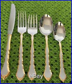 32 Pc Oneida GOLDEN ROYAL CHIPPENDALE Stainless Flatware Set 6 Place Setting