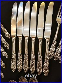 33 Pc Oneida Deluxe Stainless BARCELONA Flatware Set Floral Ornate Scroll HTF