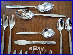 39 pc lot Oneida cube Stainless WILL O WISP Salad Dinner Forks Knives Teaspoons