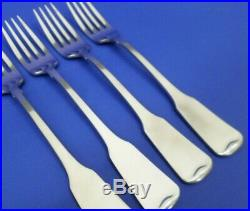4 Oneida AMERICAN COLONIAL Satin Cube Stainless Flatware 7 1/4 DINNER FORKS