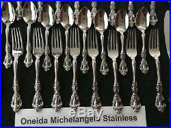 40 Pieces Full 5 Piece Service For 8 Oneida Michelangelo Stainless Steel