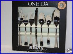 45 pc Oneida BORDEAUX Gourmet Flatware Silverware Stainless Service 8 +Hostess