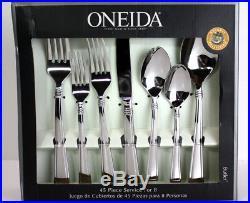 45 pcs Oneida BUTLER Flatware Set 18/0 STAINLESS + HOSTESS Service 8 NEW