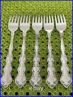 5 Oneida MOZART Dinner Forks Stainless Flatware Deluxe Glossy Scalloped