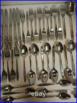 5 Pc Service For 10 Oneida Community Stainless Silverware My Rose Betty 57 Pcs