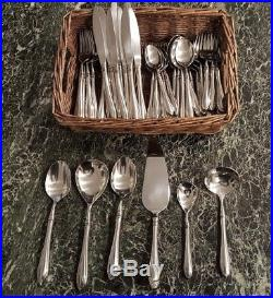 51 Pieces of Oneida Sheraton Stainless Flatware Set Cube Mark Made in the USA