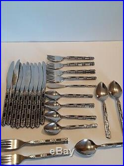 53 Pcs ONEIDA COMMUNITY STAINLESS BLACK ACCENT MADRID 9 PLACE SERVING SET