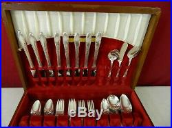 54 Piece Oneida Chateau Silverplate Heirloom Stainless Flatware Silverplate 1934