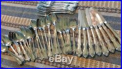 54 pcs 1881 Rogers Stainless Flatware True Arbor Rose Oneida Ltd silverware