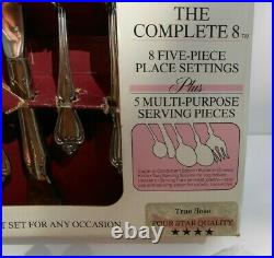 57 pc Oneida Rogers Stainless True Rose Arbor 8 place settings serving pieces +