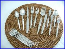 61 Pieces Oneida Community VENETIA Burnished Stainless Almost Service For 10 ++