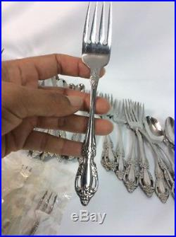 64 Pcs Distinction Deluxe Oneida Raphael Spoons Knives Forks Stainless Flatware