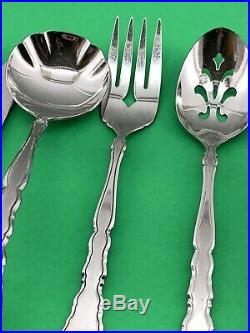 65 PC Oneida Community SATINIQUE Stainless Flatware Service 12 + Serving -Fork