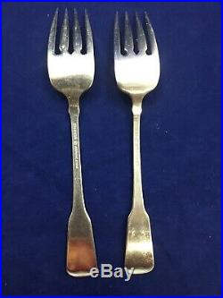 7 Oneida American Colonial Dinner Salad Serving Fork Stainless Cube Mark Lot