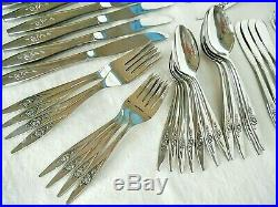 78 Pc ONEIDA STAINLESS DELUXE LASTING ROSE FLATWARE SET for 8 with 9 Accessory pcs