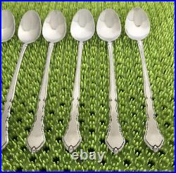 8 Oneida Community SATINIQUE Iced Tea Spoons Stainless Flatware