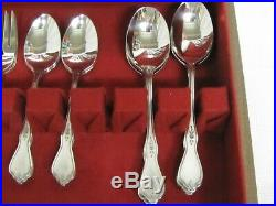 8 Oneida Stainless MORNING BLOSSOM 5pc Place Setting PROFILE withWooden Case