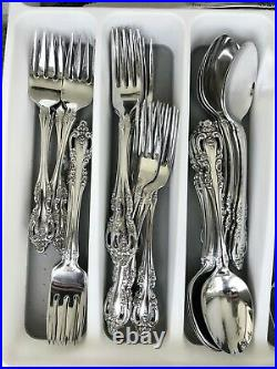 86pc Oneida Community BRAHMS Stainless Flatware for 10+ withServing Pcs EUC