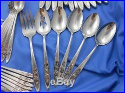 90 Piece Oneida Community My Rose Stainless Steel Flatware Set for 12 Excellent