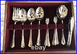95pc Service for 12 Oneida Golden Julliard Stainless Flatware Gold Accent withCase