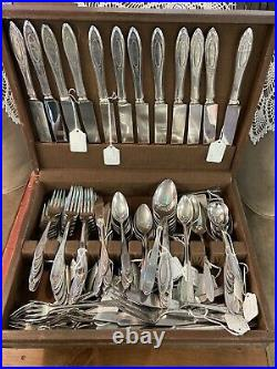 Antique 1917 Community ONEIDA ADAM Silver Plate Flatware Stainless Set 127 Lot