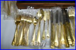 Gold Flatware Silverware JAPAN & China 120 Pieces total Oneida Shell