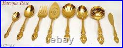 Gold golden stainless steel ONEIDA ROGERS BAROQUE ROSE flatware set 68 pc