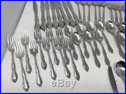 Huge 60 pc set Oneida Community Chatelaine Stainless Flatware Service Childs Set