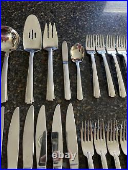 Huge 64 Pcs Total ONEIDA STAINLESS-SATIN ETAGE Flatware Set With Serving Pieces