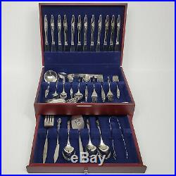 Lasting Rose Stainless by Oneida Silver 12 pc service Hostess pcs chest 91 total
