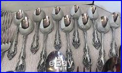 Lot Oneida Community BRAHMS Glossy Stainless Flatware w wood Chest 60 pieces EXC