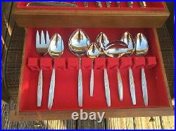 Lovely 82 pc Oneida Will O Wisp Stainless CUBE MARK Flatware Set SERVICE for 12