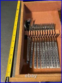 MCM Rogers Oneida Ltd SPANISH COURT Stainless Flatware Mid Century 95 pieces