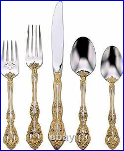 Michelangelo Gold Accent Flatware Stainless Steel Silverware 5 Piece Set Oneida