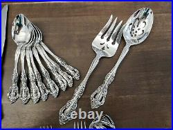 NICE! 74pc Oneida MICHELANGELO 18/8 Cube Stainless Flatware Set Service for 10
