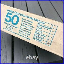 NOS Vintage Oneida CAPISTRANO Stainless Flatware 55pc Set in Original Box 1974