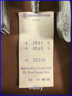 New 1968 Oneida 100 Piece Stainless Steel Flatware Set & Nakens Silverware Chest
