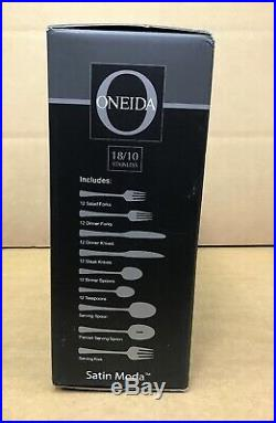 New! ONEIDA 75 Piece Stainless Steel Flat Ware Set SATIN MODA
