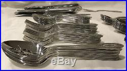 ONEIDA Deluxe Stainless 75 Pcs POLONAISE Burnished Rose Cameo Flatware USA