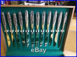 ONEIDA ROSE PENDANT DISTINCTION DELUXE HH STAINLESS FLATWARE 105 pieces set