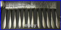 ONEIDA Satin Camber 64pc stainless flatware service for 12 +extra serving pieces