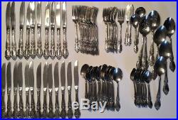 ONEIDA Stainless WORDSWORTH Flatware lot of 89 Complete Set for 10 with Extras