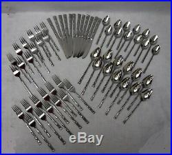 ONEIDA silver Co. Stainless OHS50 BAMBOO pattern 60-piece SET SERVICE for 12