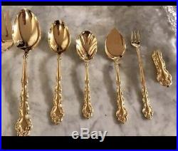 Oneida 138 Piece Deep Silver Inlaid with Solid Silver Vintage Flatware with Case