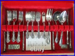 Oneida 1881 Rogers Stainless Flatware #552 ARBOR ROSE Service for 20 withChest