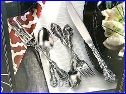 Oneida 53 Piece Michelangelo 18/10 Stainless Flatware Set + Incl. Steak Knives