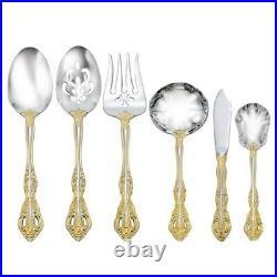 Oneida 6-Piece HOSTESS SERVING SET 18/10 Stainless Silver + Gold