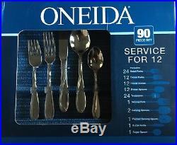 Oneida 90 Piece Vinca 18/10 Stainless Fine Flatware Set, Service for 12